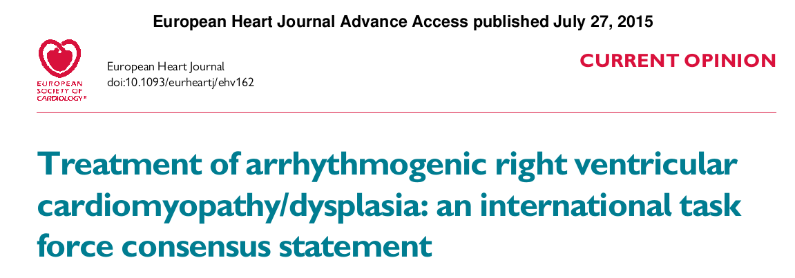Treatment of arrhythmogenic right ventricular cardiomyopathy/dysplasia