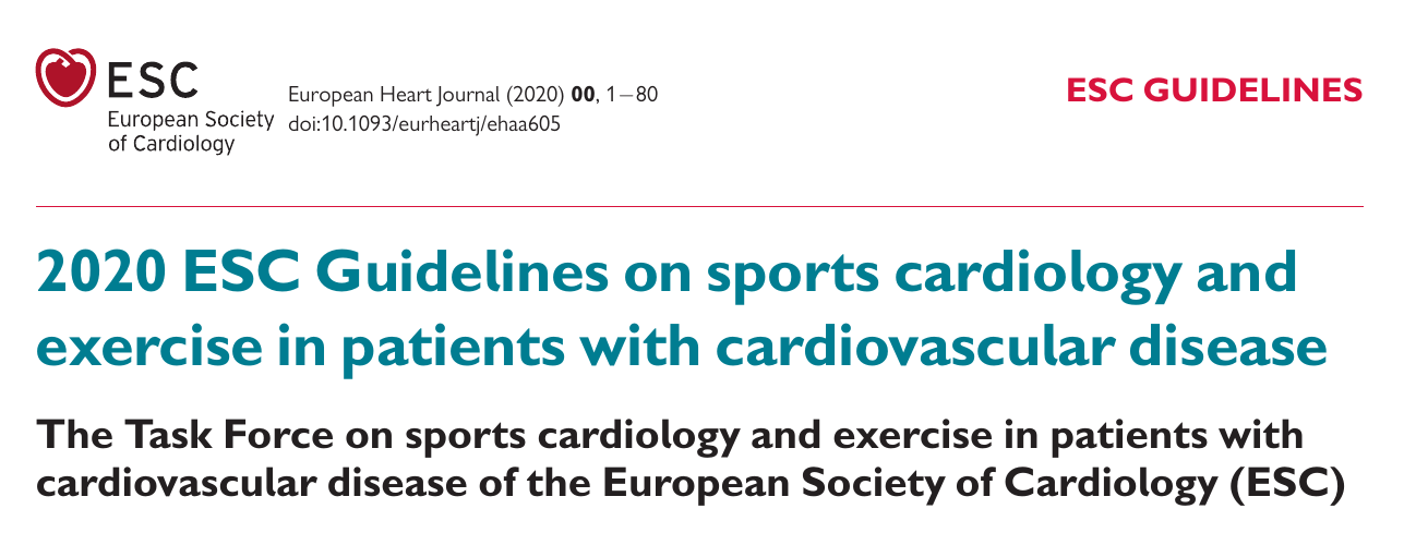 2020 ESC Guidelines on sports cardiology and exercise in patients with cardiovascular disease