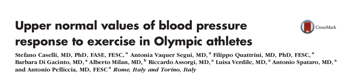 Upper normal values of blood pressure response to exercise in Olympic athletes