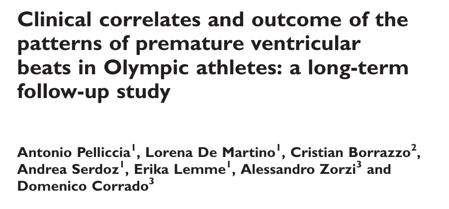 Clinical correlates and outcome of the patterns of premature ventricular beats in Olympic athletes: a long-term follow-up study