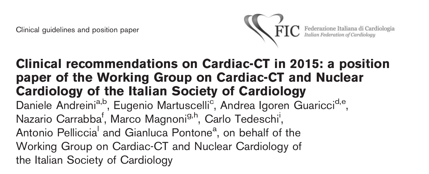Clinical recommendations on Cardiac-CT in 2015