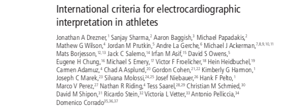 International criteria for electrocardiographic interpretation in athletes