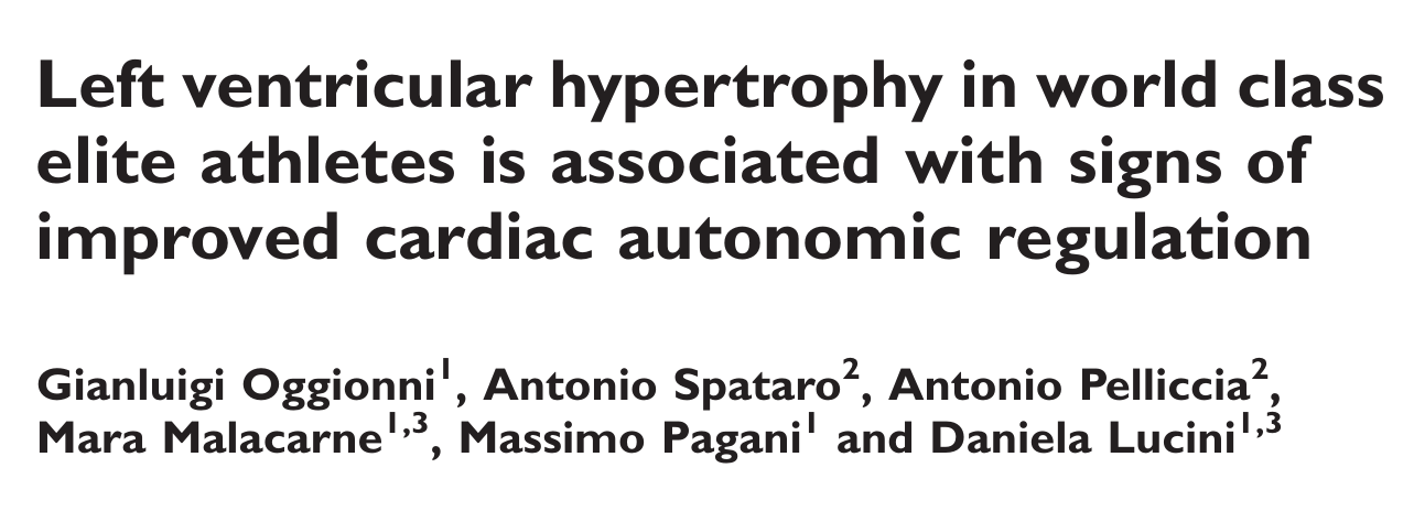 Left ventricular hypertrophy in world class elite athletes is associated with signs of improved cardiac autonomic regulation