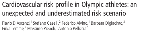 Cardiovascular risk profile in Olympic athletes: an unexpected and underestimated risk scenario