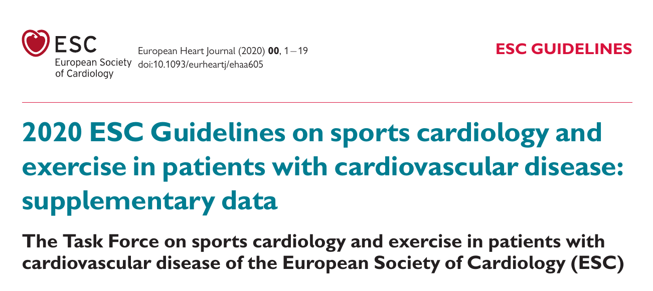 2020 ESC Guidelines on sports cardiology and exercise in patients with cardiovascular disease: supplementary data