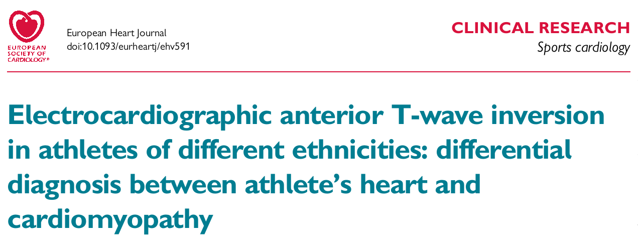Electrocardiographic anterior T-wave inversion in athletes of different ethnicities: differential diagnosis between athelete's heart and cardiomyopathy