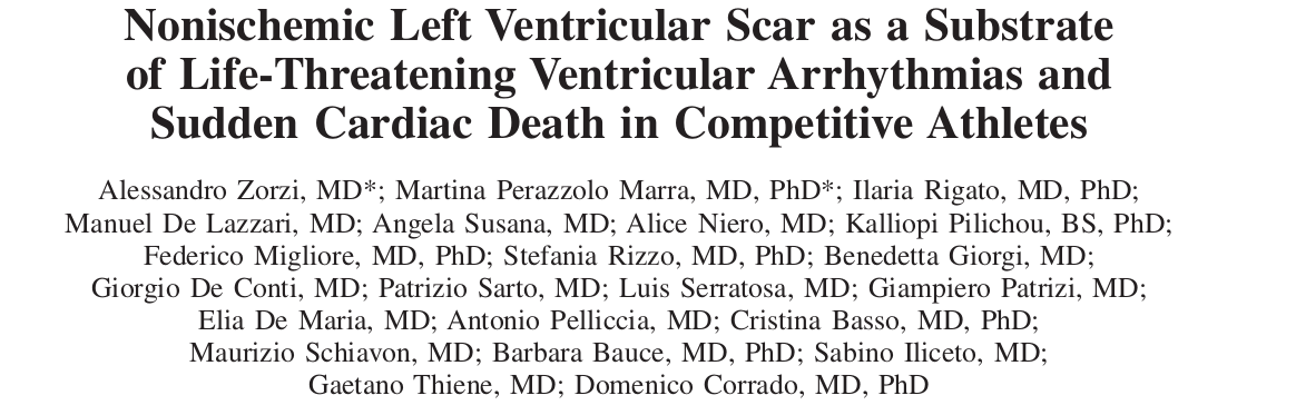 Nonischemic Left Ventricular Scar as a Substrate of Life-Threatening Ventricular Arrhythmias and Sudden Cardiac Death in Competitive Athletes