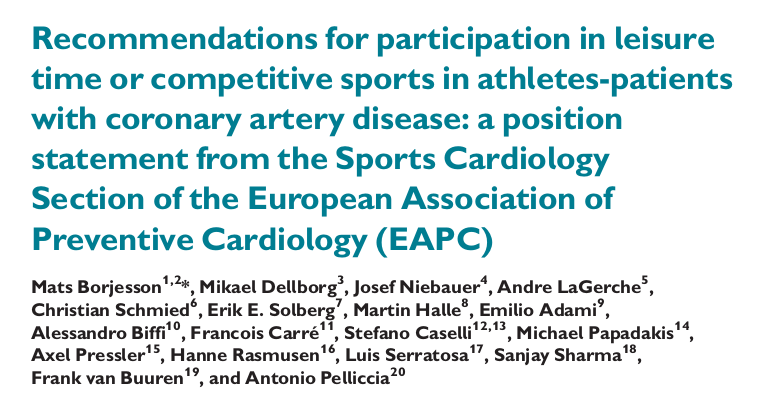 Recommendations for participation in leisure time or competitive sports in athletes-patients with coronary artery disease: a position statement from the Sports Cardiology Section of the European Association of Preventive Cardiology (EAPC)