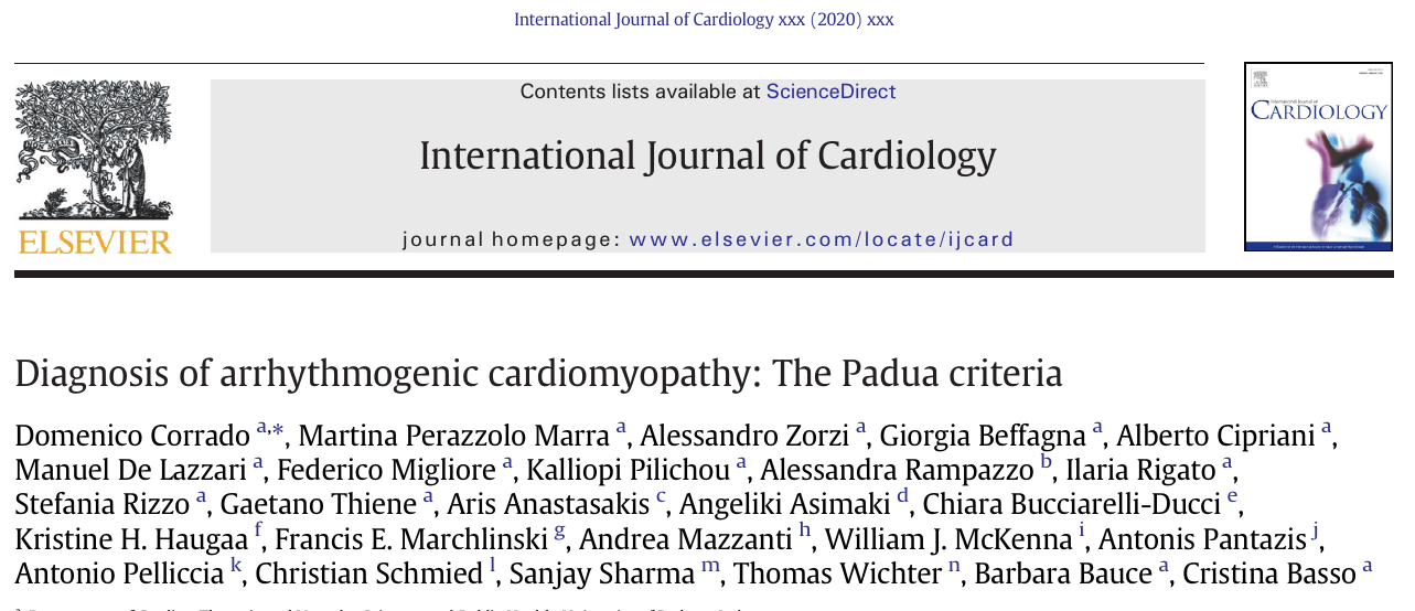 Diagnosis of arrhythmogenic cardiomyopathy: The Padua criteria